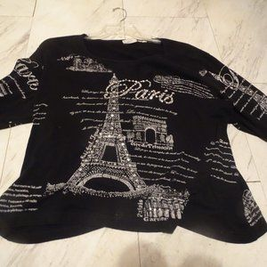 Black Paris Top, sz XL, silver logos